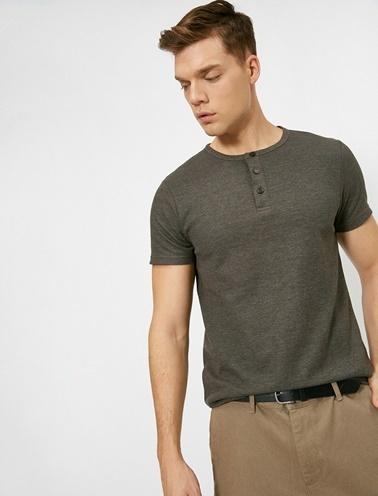 Koton Dügme Detayli T-Shirt Yeşil